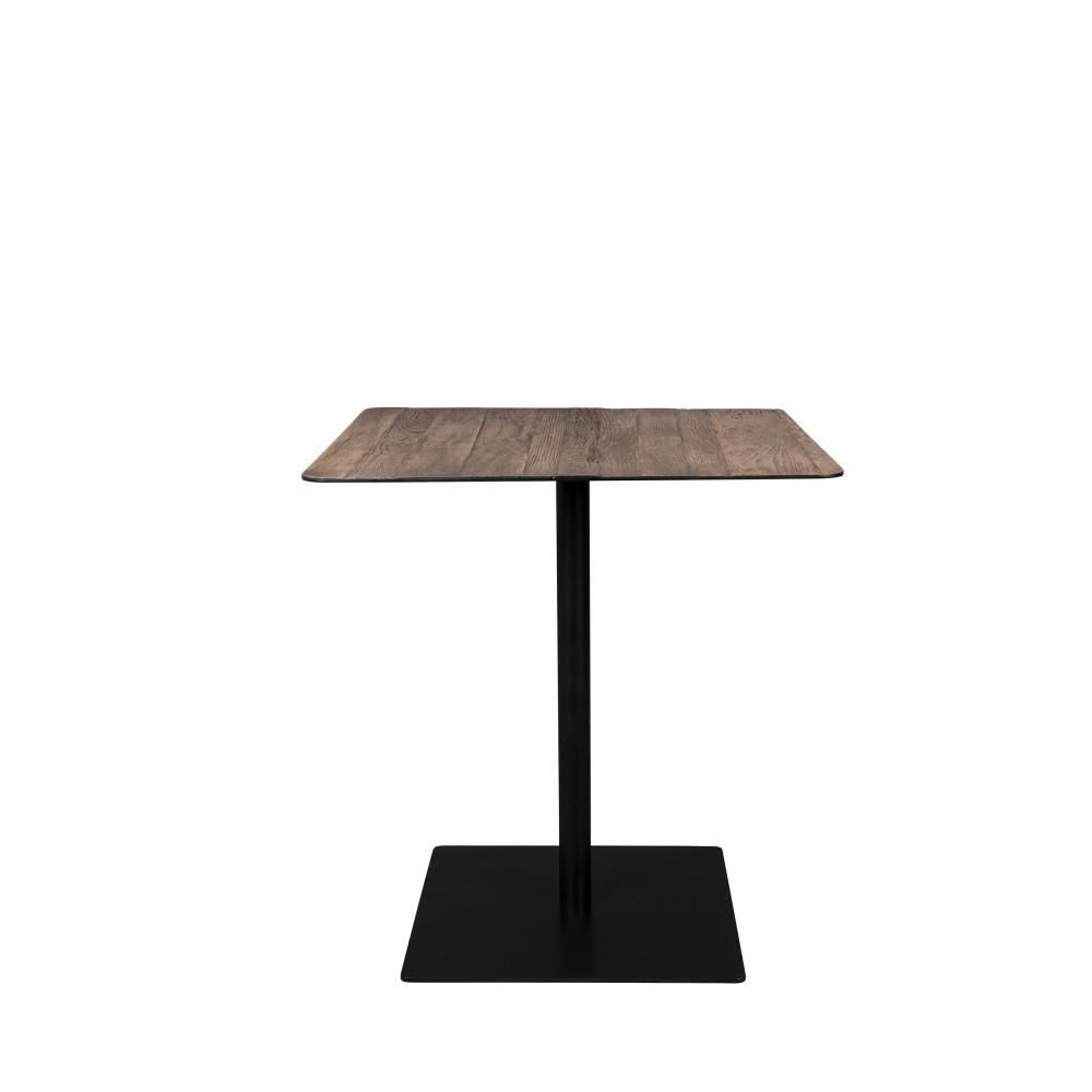 Table de bistrot carrée en métal et bois 70x70cm chêne