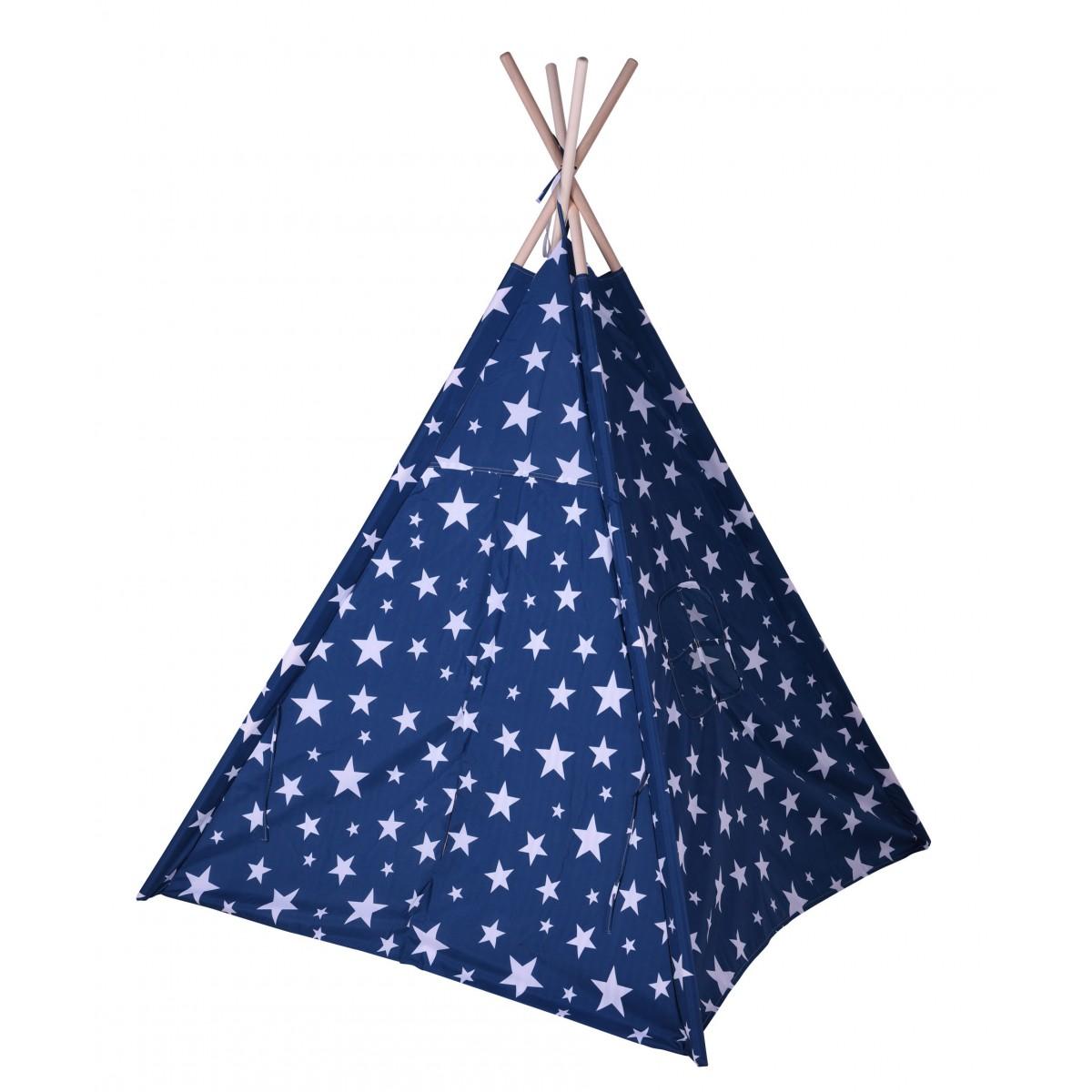Tente de jeu pour enfant tipi bleu avec étoiles blanches