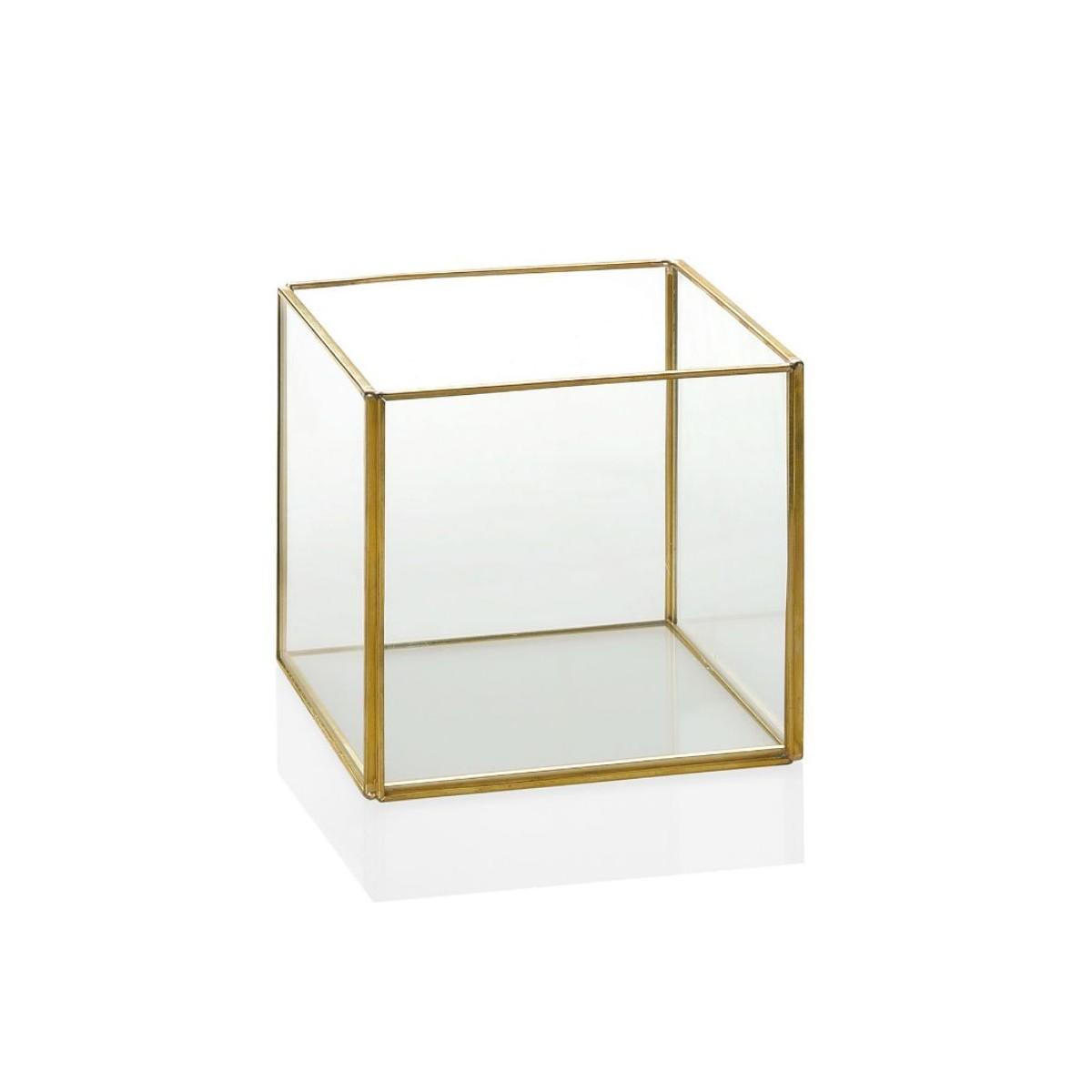 Terrarium carré en laiton et verre 12x12x12cm