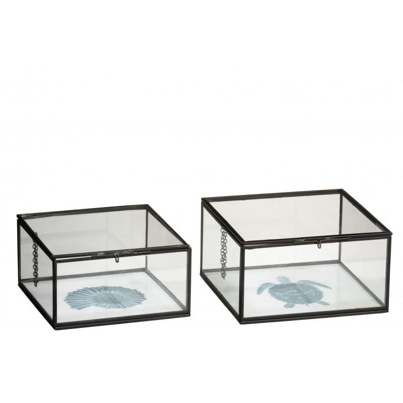 Boîtes tortue et coquillage en métal et verre - Lot de 2