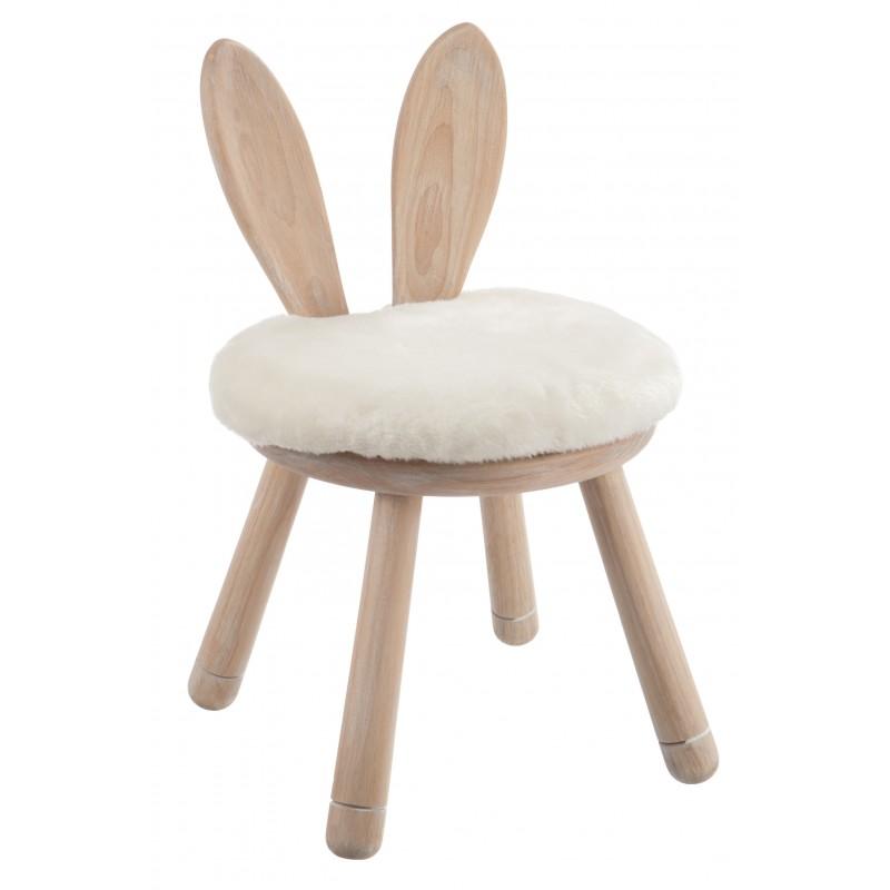 Chaise oreille lapin bois naturel H29cm