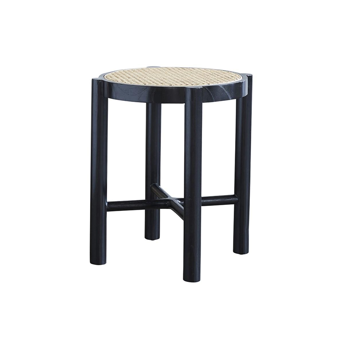 Table de chevet en bois d'acajou et cannage noir
