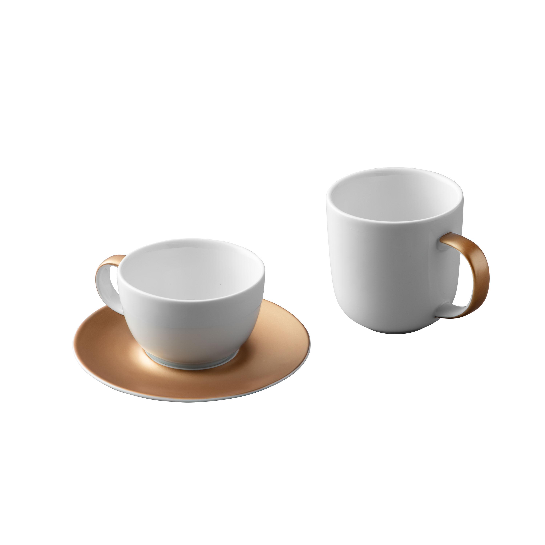 Service à café et à thé 3 pièces blanc en porcelaine