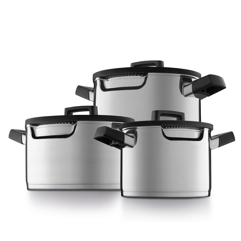 Batterie de cuisine 6pcs avec event vapeur spéciale hotte en plan