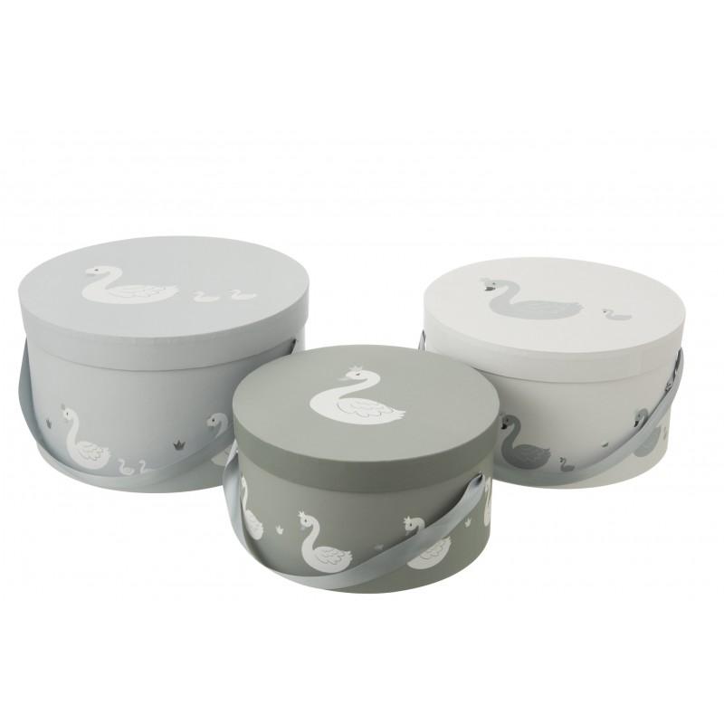 Boîtes cygne en papier blanc et gris - Lot de 3
