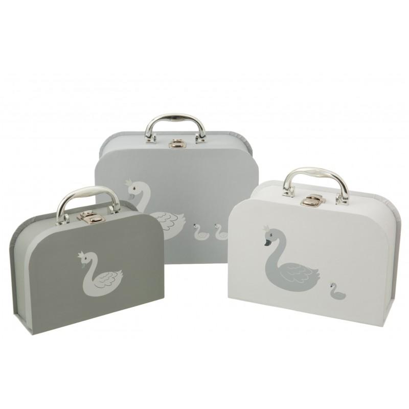 Valises cygne en papier blanc et gris - Lot de 3