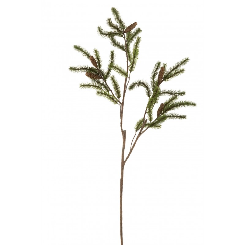 Branche de sapin et pommes de pin en plastique vert H145cm
