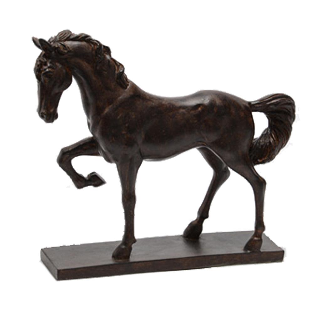 Cheval en résine décoratif sur socle H24cm