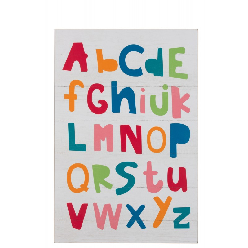 Cadre alphabet bois blanc 60,5x90cm