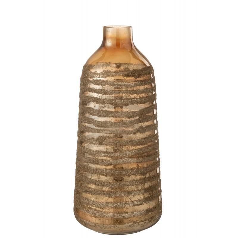 Vase haut rond verre marron H47cm