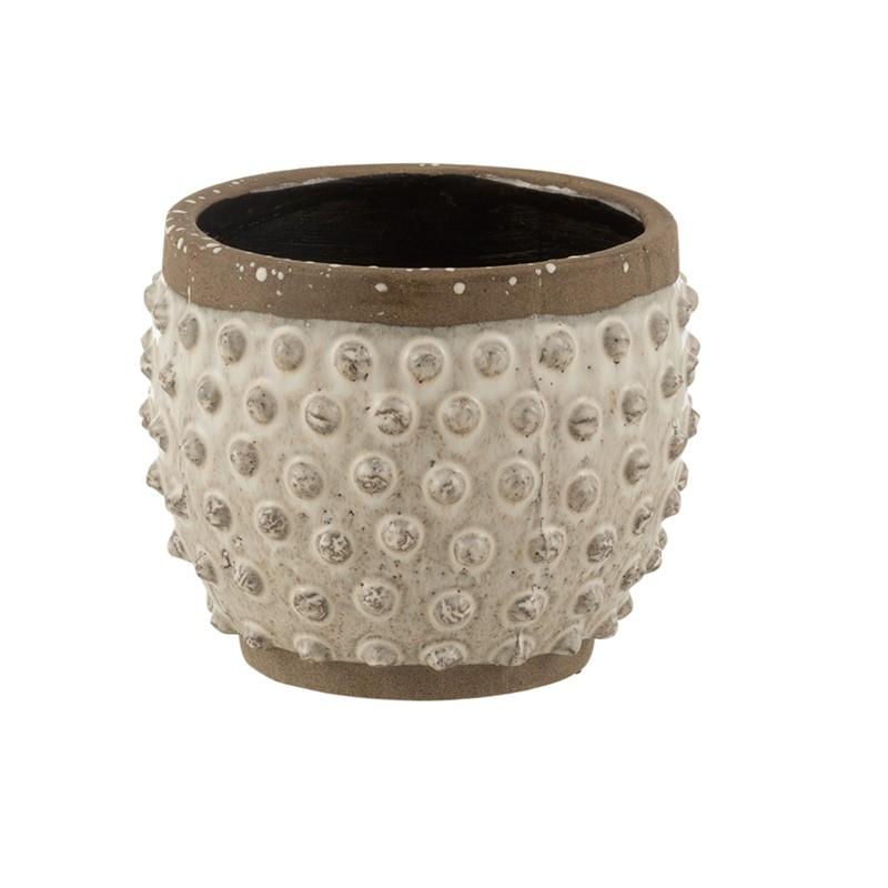 Cache-pot bord pointu céramique blanc et gris