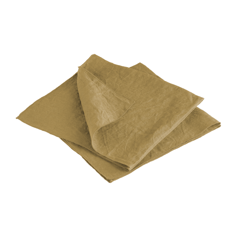 Lot de 2 serviettes de table en lin lavé 45x45 cm Jaune
