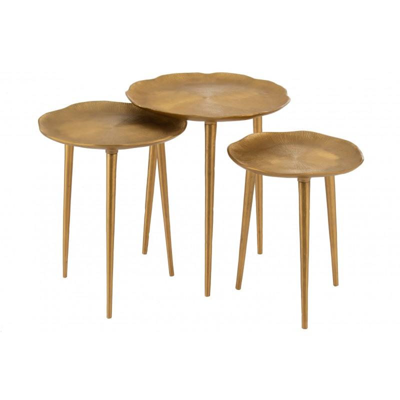 Tables gigognes baroque métal or - Lot de 3