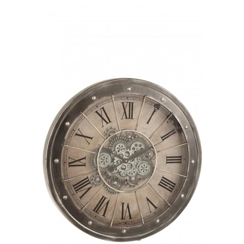 Horloge chiffres romains mécanisme apparent métal gris D80cm