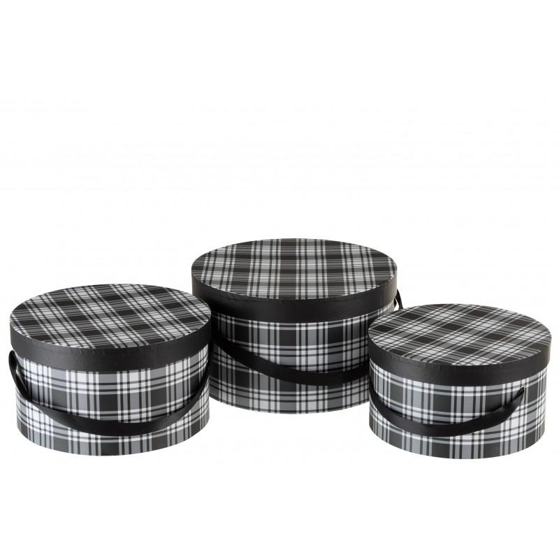 Boîtes à carreaux en papier noir et blanc - Lot de 3