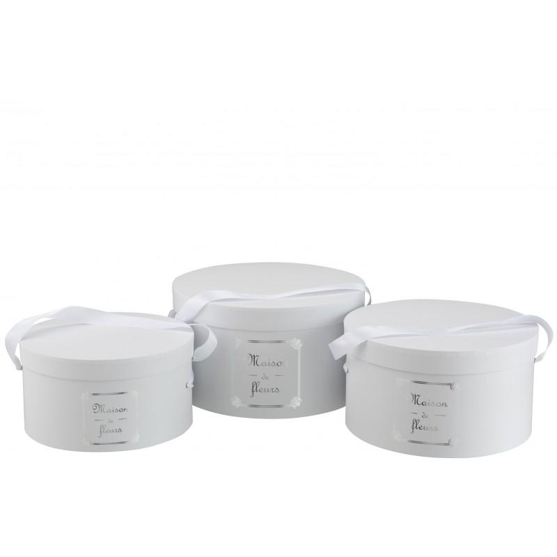 Boîtes rondes maison papier blanc et argent - Lot de 3