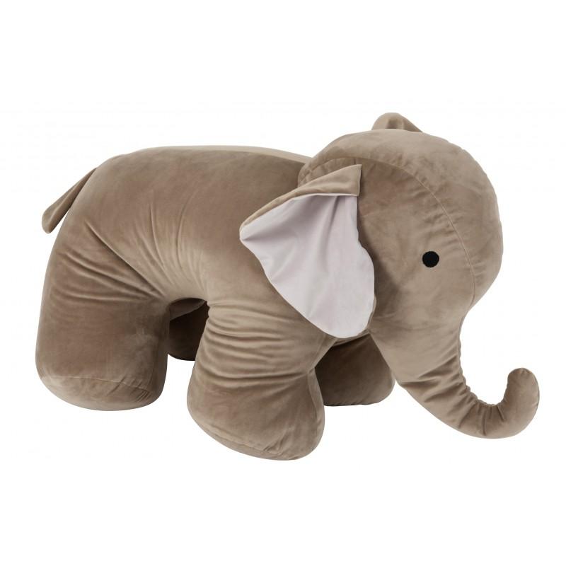 Éléphant décoratif textile gris