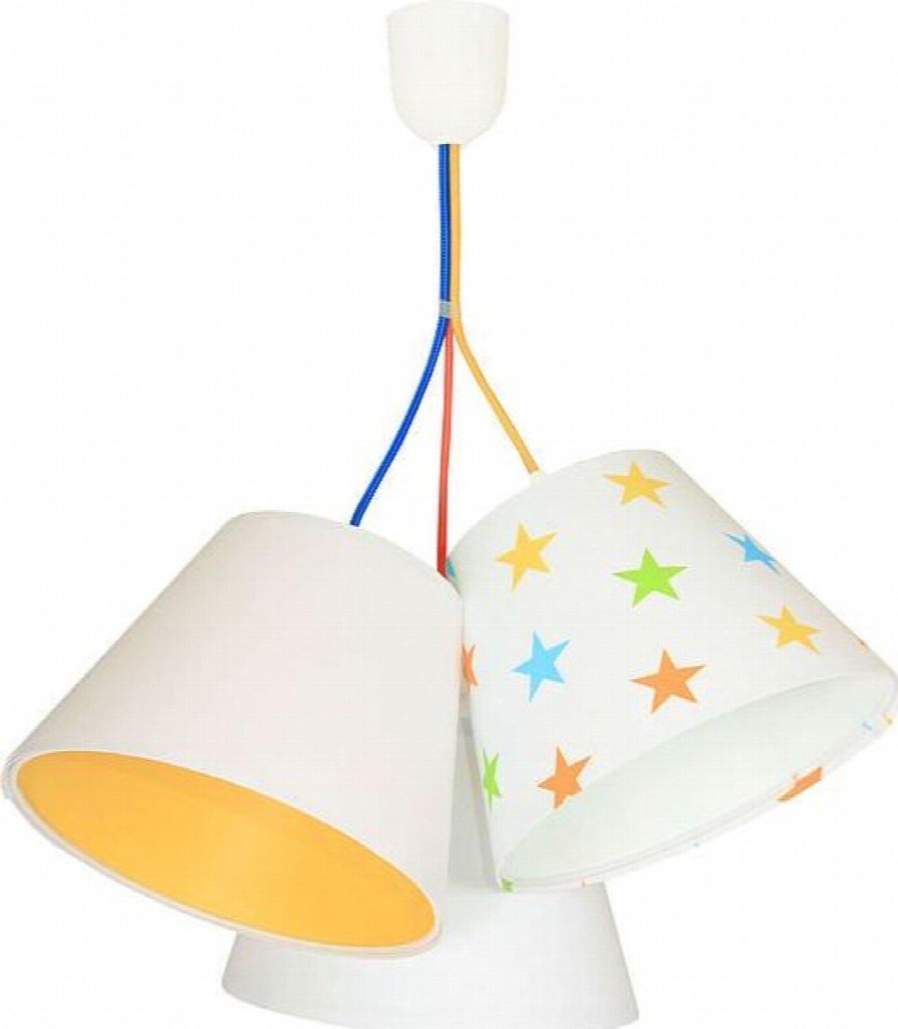 Suspension enfant abat-jour blanc et orange 50x50x30