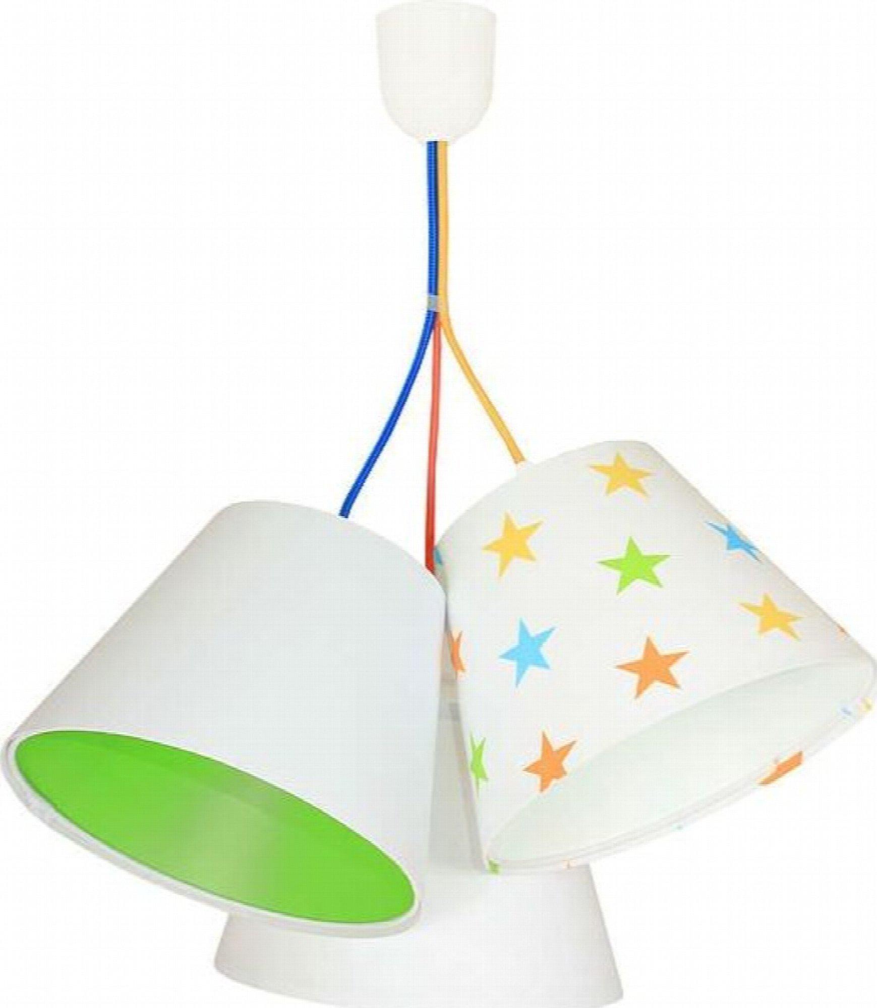 Suspension enfant abat-jour blanc et vert 50x50x30