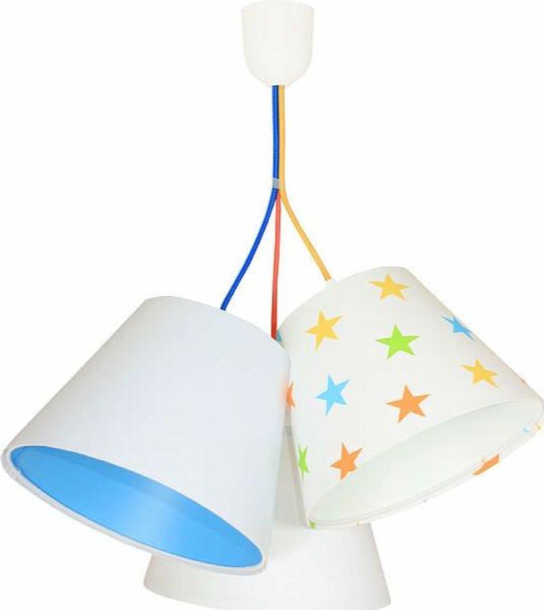 Suspension enfant abat-jour blanc et bleu 50x50x30