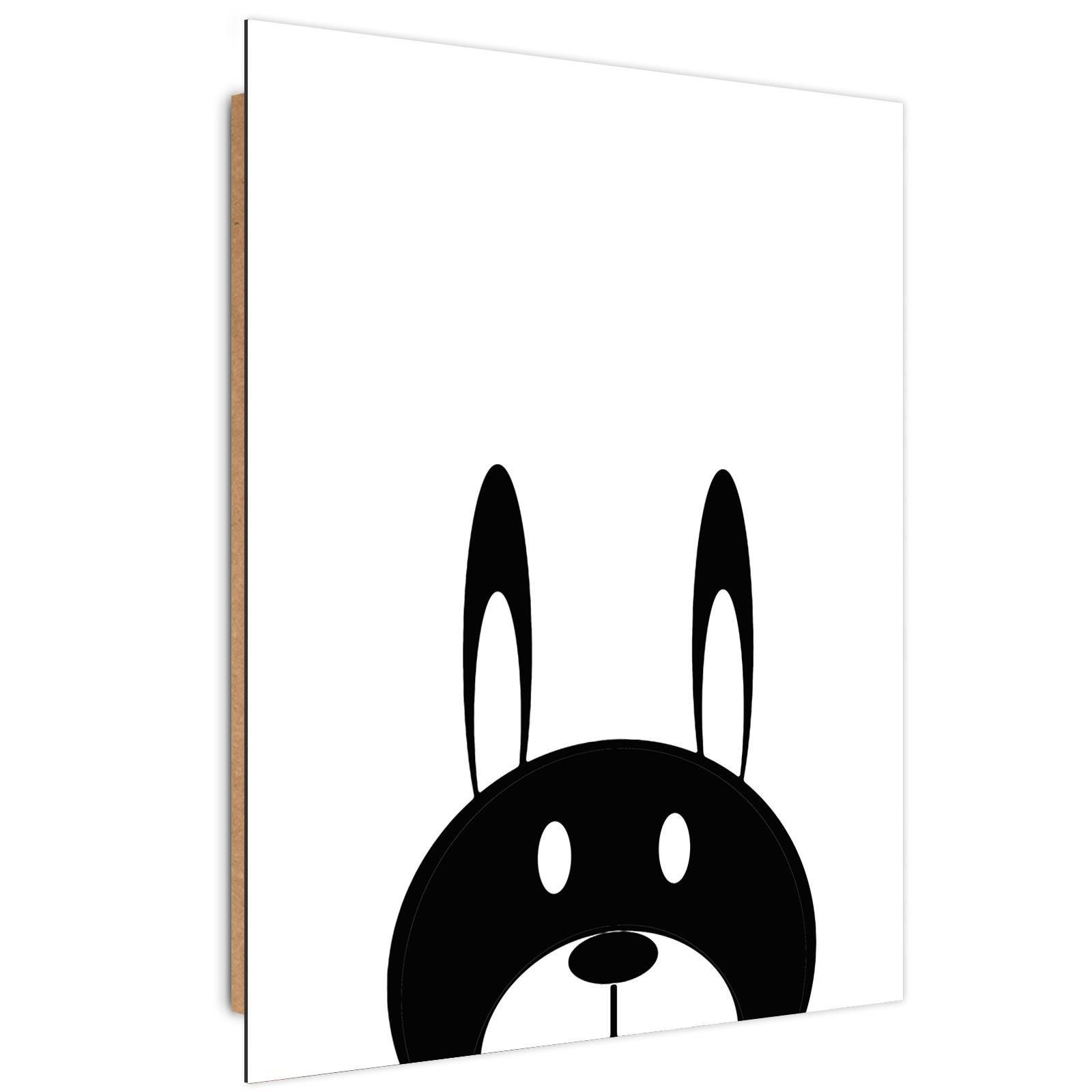 Tableau enfant bois contrast hare noir et blanc 60x90