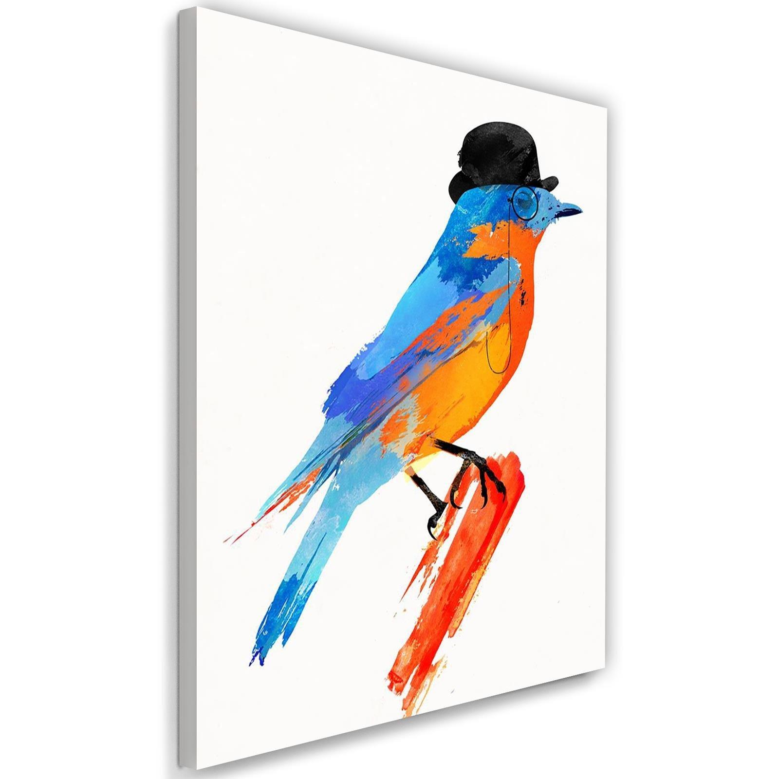 Tableau enfant bird in a bowler hat orange 70x100