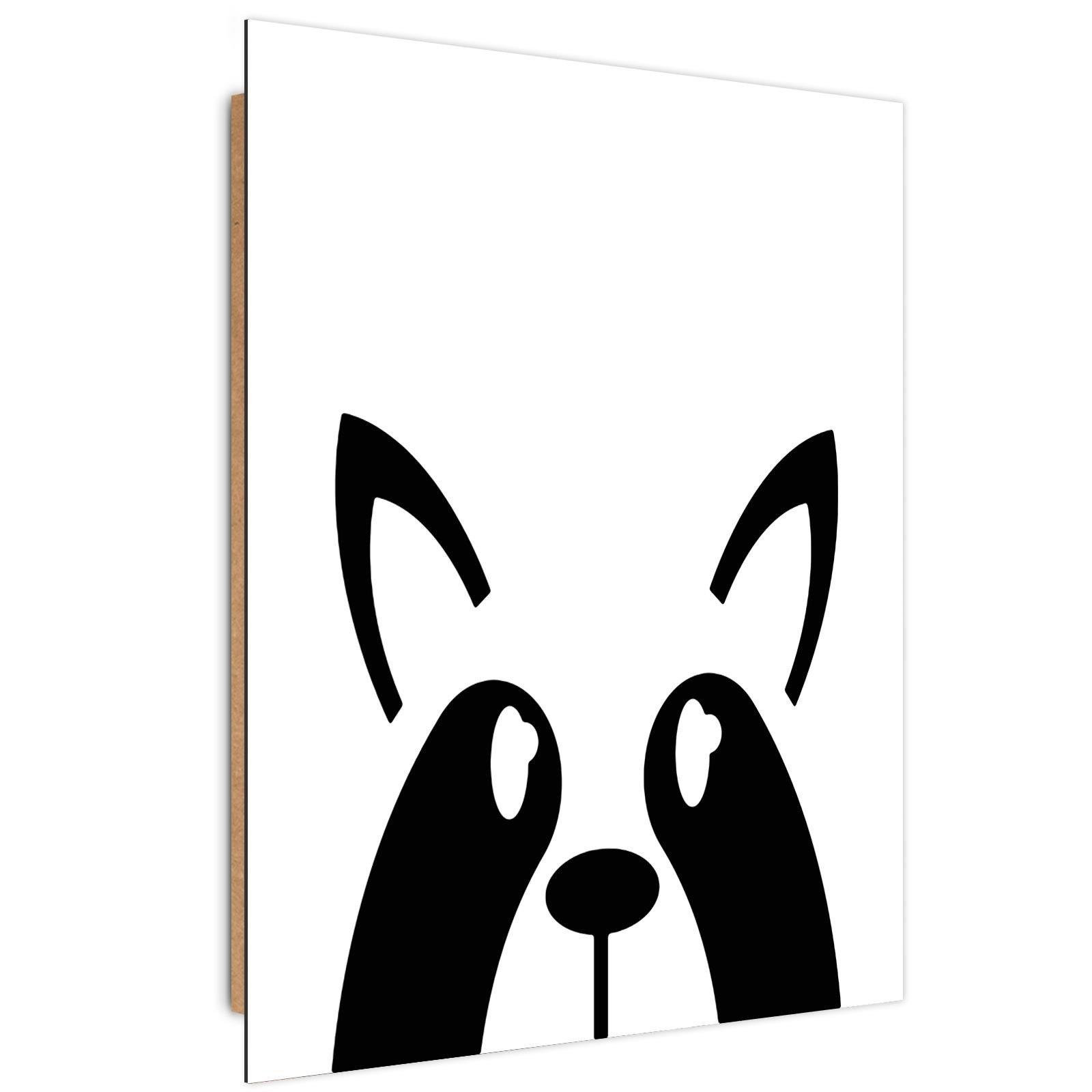 Tableau enfant bois raccoon noir et blanc 60x90
