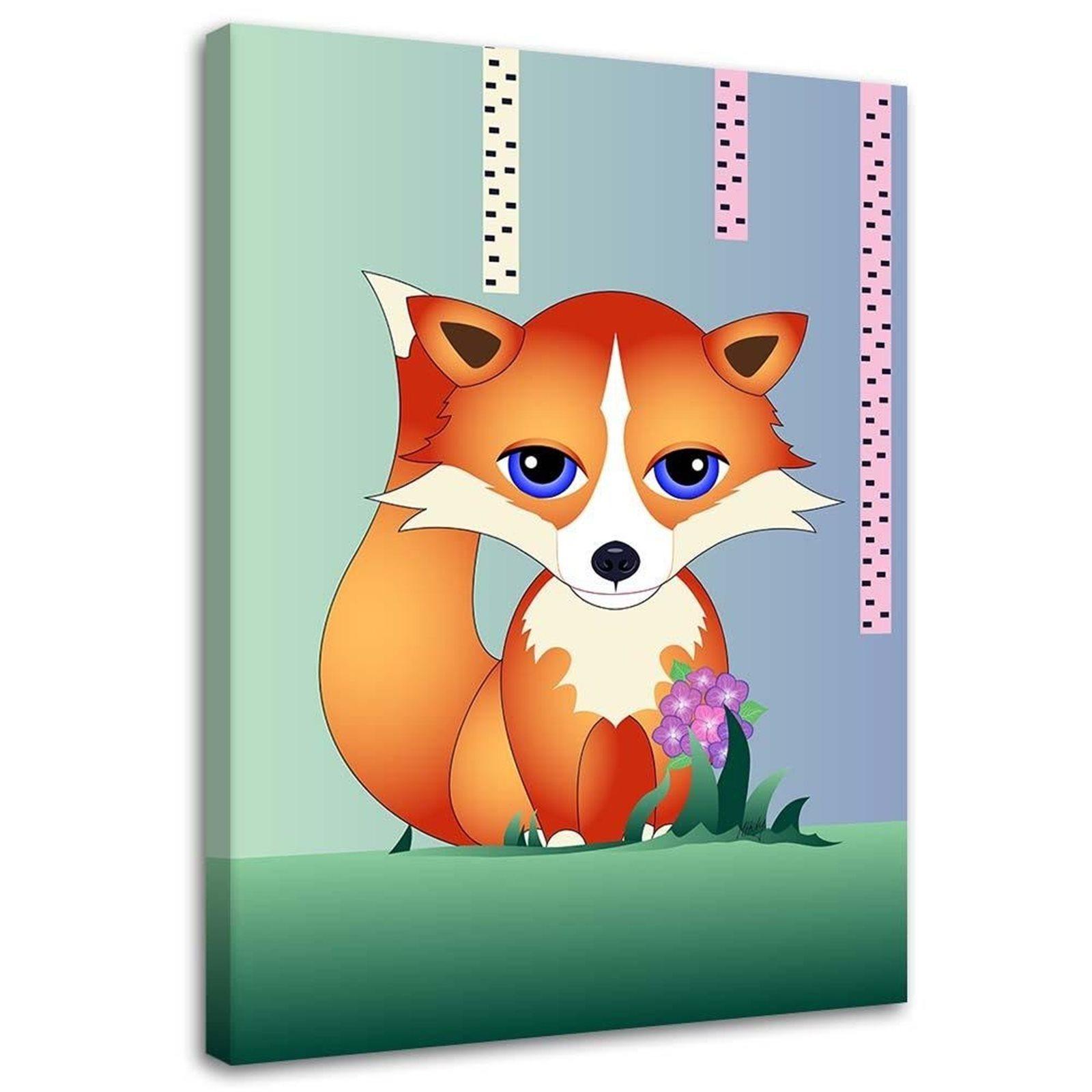 Tableau enfant a fox for children vert 70x100