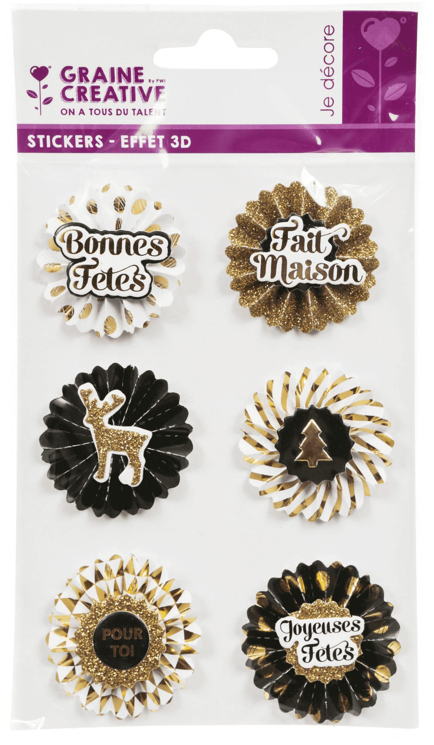 6 stickers 3D médaillons de Noël 4cm