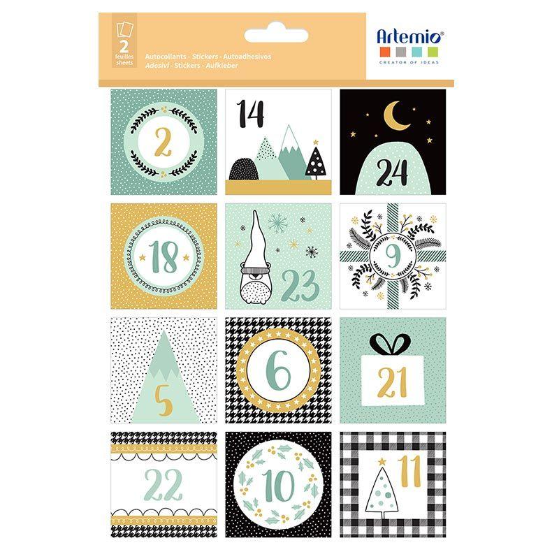 24 stickers carrés calendrier de l'Avent