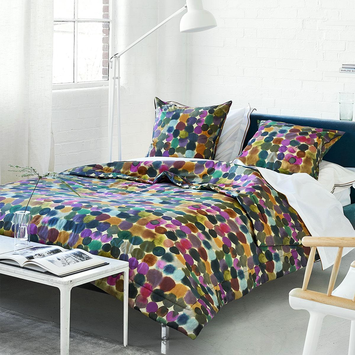 Housse de couette imprimée en coton multicolore 140x200