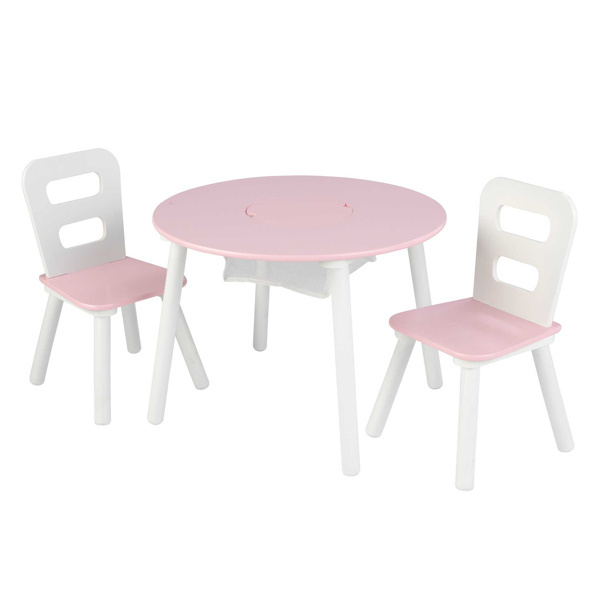 Table enfant ronde rose + 2 chaises