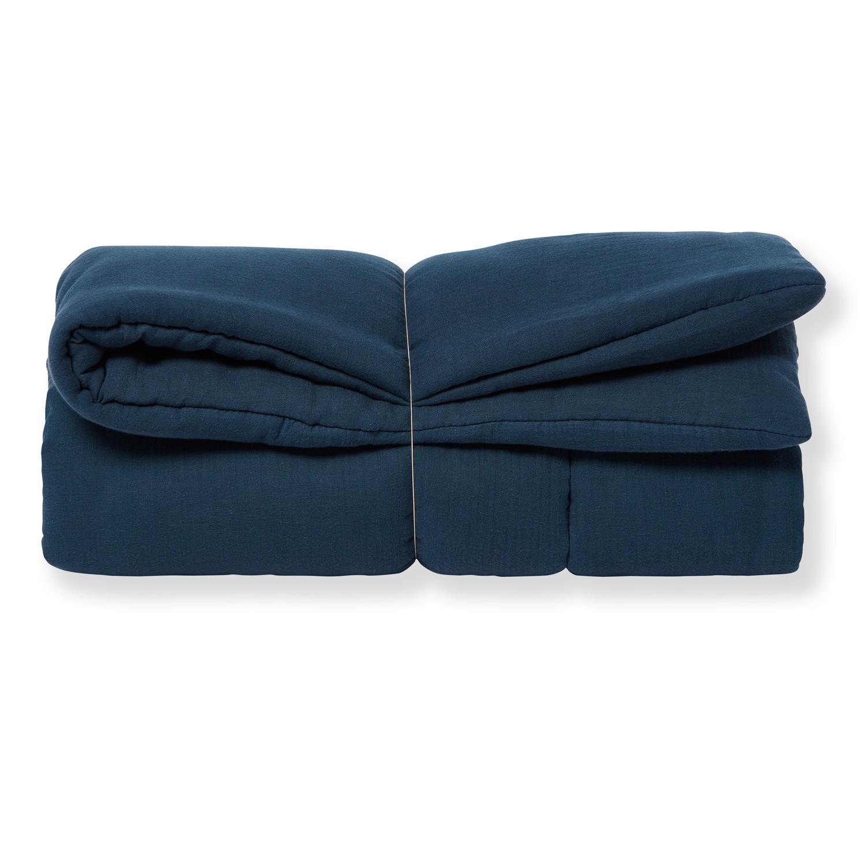 Tapis de jeu bébé grand format en gaze de coton bio bleu profond