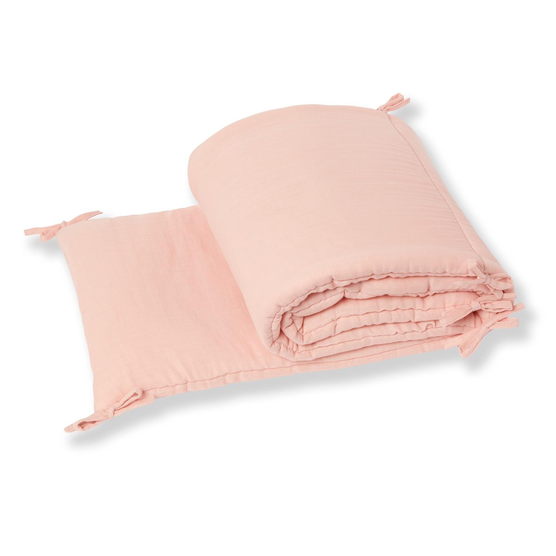 Tour de lit bébé en gaze de coton biologique rose poudre
