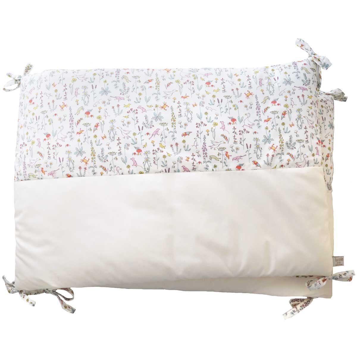 Tour de lit bébé en coton Oeko-Tex écru et Liberty