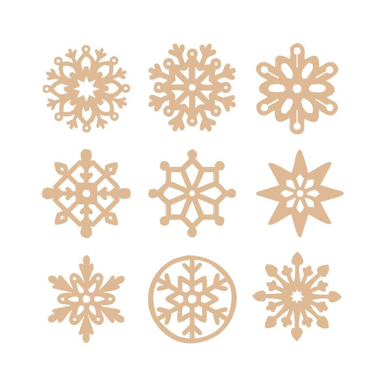 27 mini décorations en bois - flocons de neige