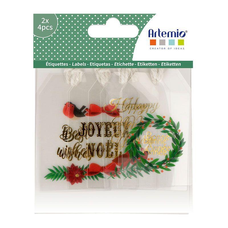 8 étiquettes acetate Merry Christmas