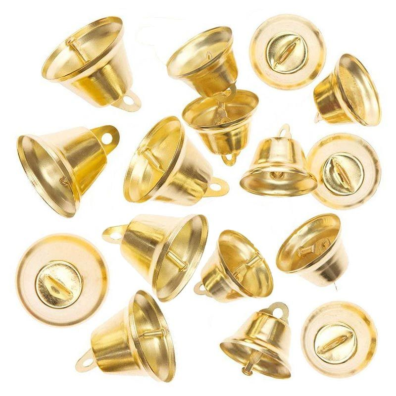 16 petites cloches en métal doré