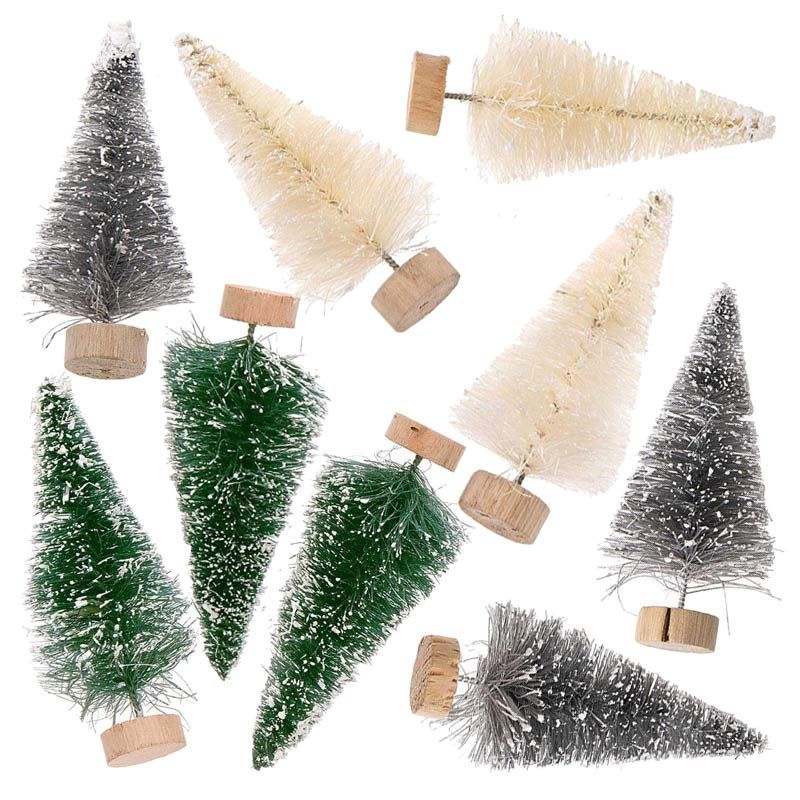 9 petits sapins de Noël décoratifs vert-gris-blanc 7cm