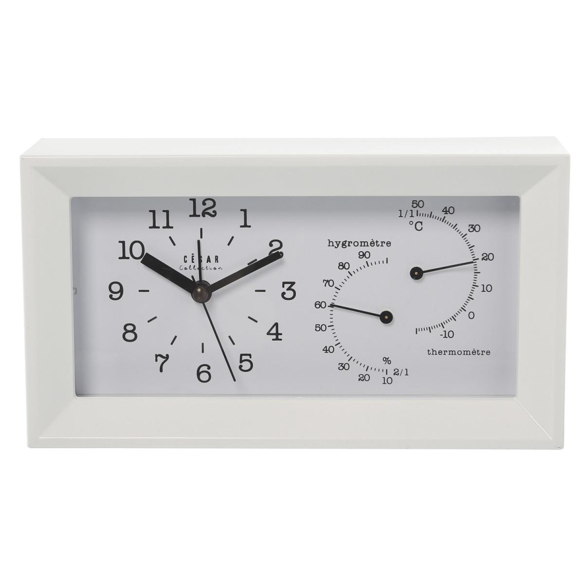 Horloge à poser acrylique blanc alarme, thermomètre + hygromètre