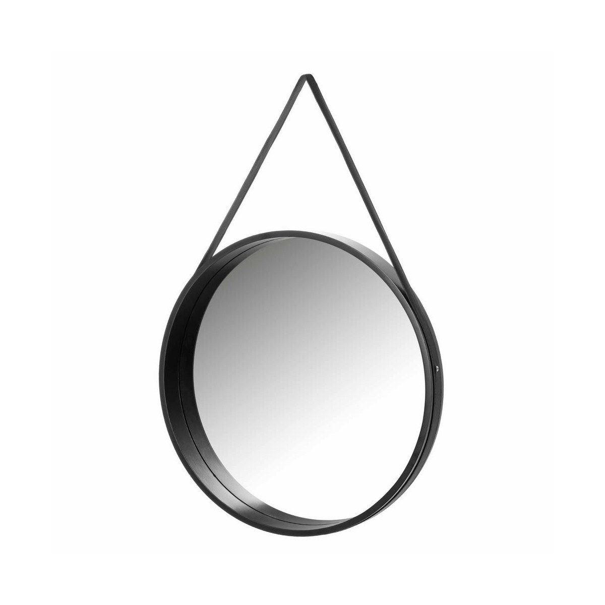 Miroir suspendu rond en bois noir D50cm