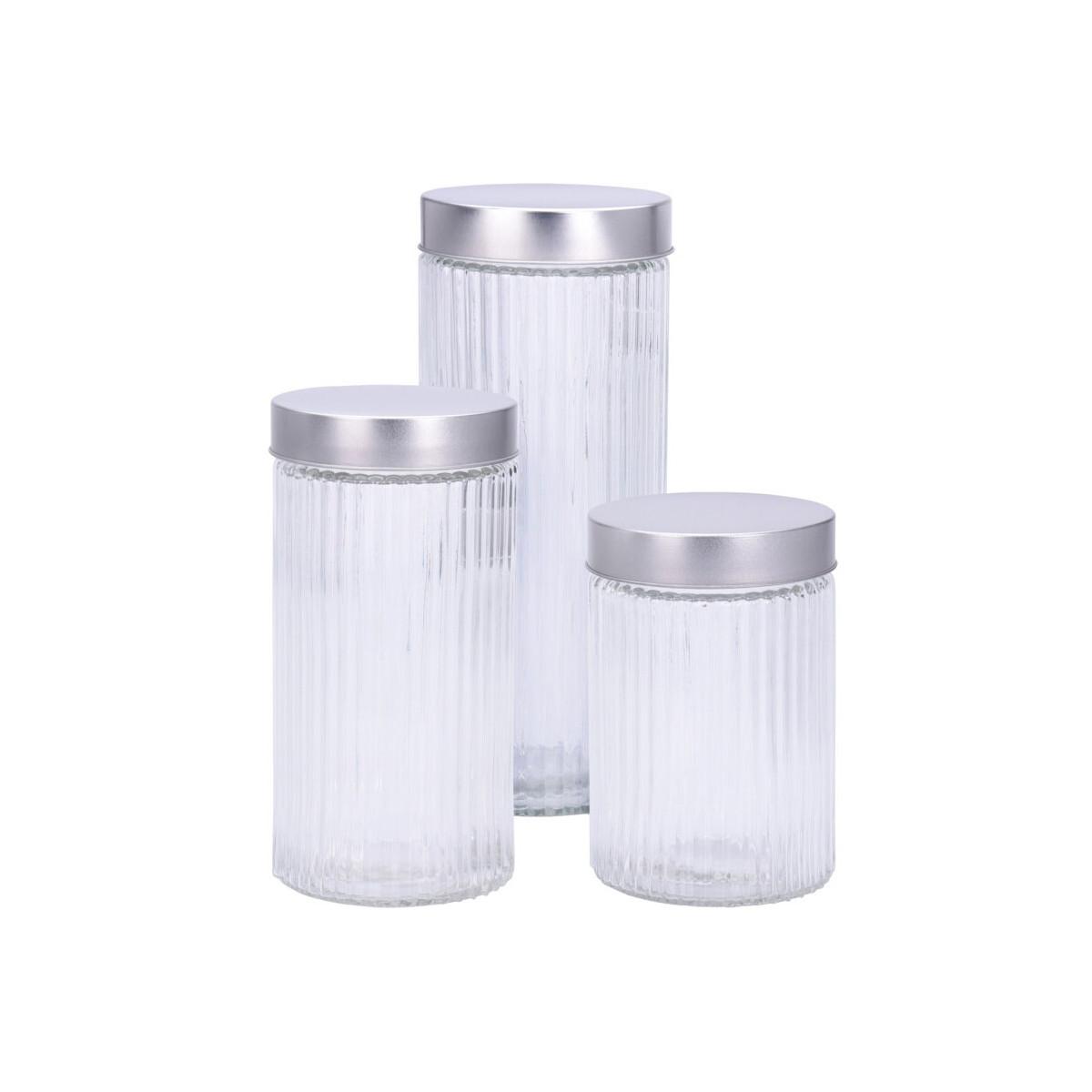 Set de 3 bocaux de cuisine hermétique verre strié et métal chromé