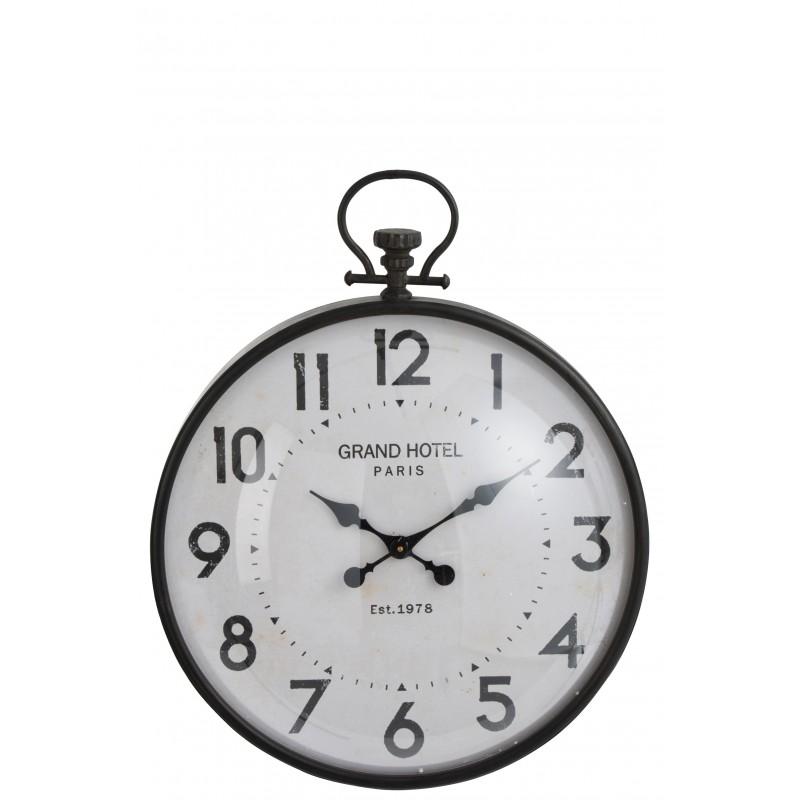 HORLOGE BOULE RONDE METAL NOIR VERRE 69,5 cm