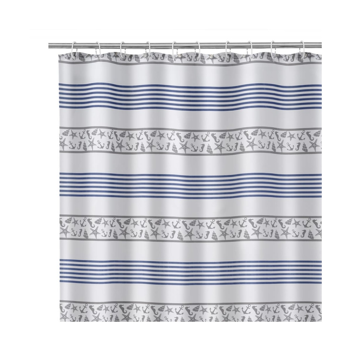 Rideau de douche bleu et blanc coquillages