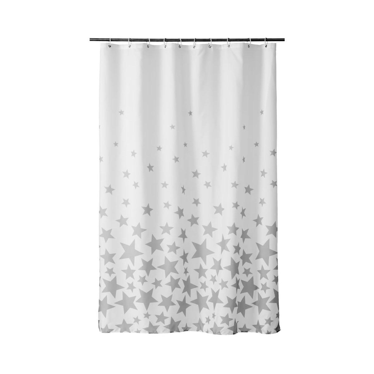 Rideau de douche blanc et gris étoiles