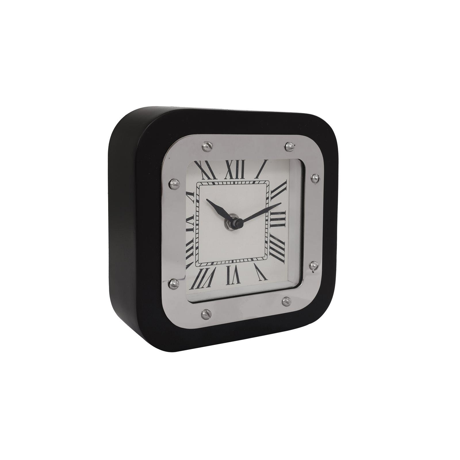 Horloge de table Argent et noir 5x17x17