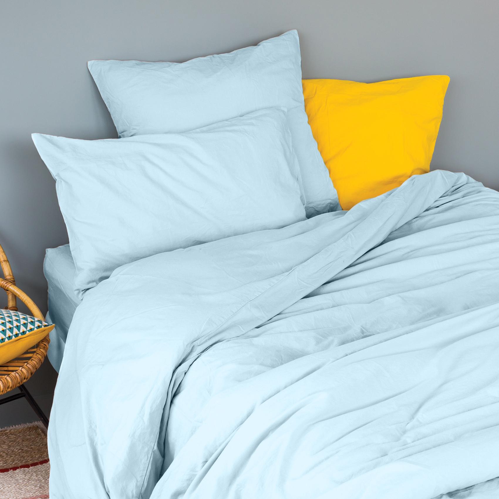 Taie d'oreiller en coton lavé coton turquoise 70x50