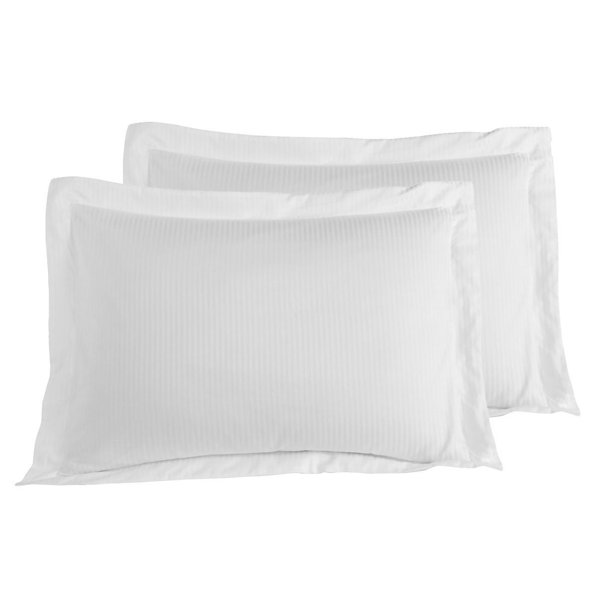 2 taies d'oreiller rayées satin coton Blanc 50x70 cm