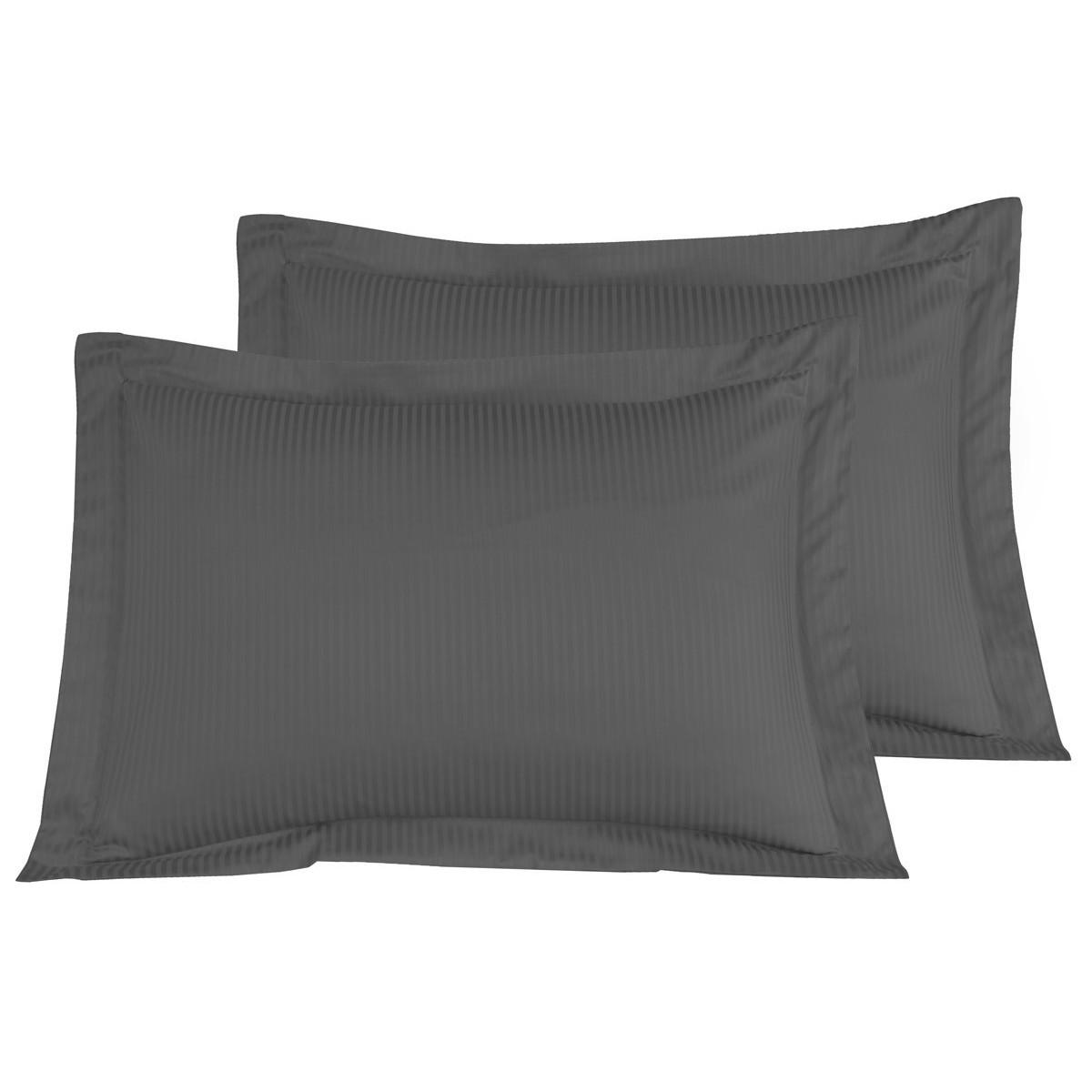 2 taies d'oreiller rayées satin coton Anthracite 50x70 cm