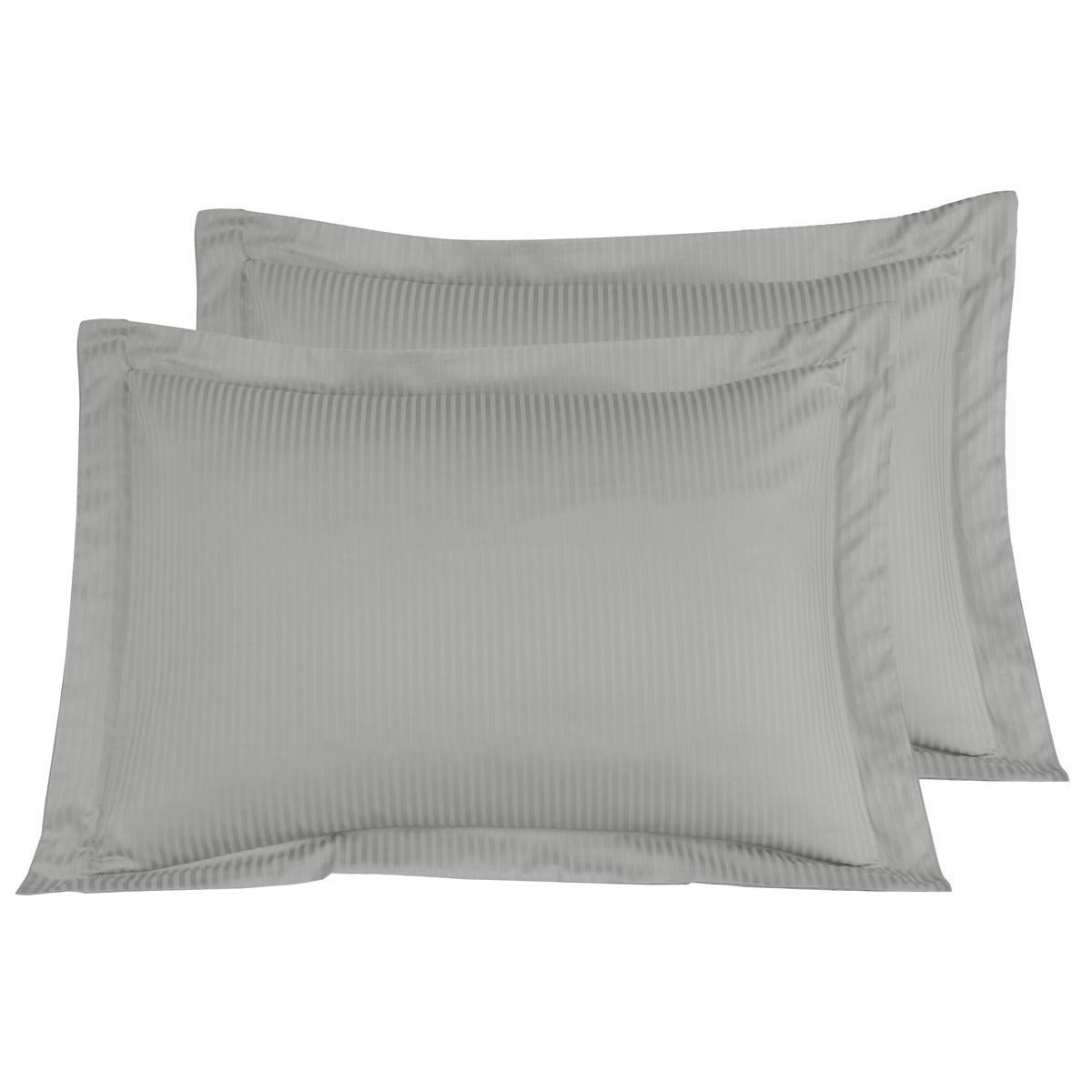 2 taies d'oreiller rayées satin coton Gris Acier 50x70 cm